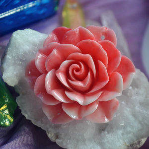 Jewelry - Hand Carved Pink Rose Pendant Bead